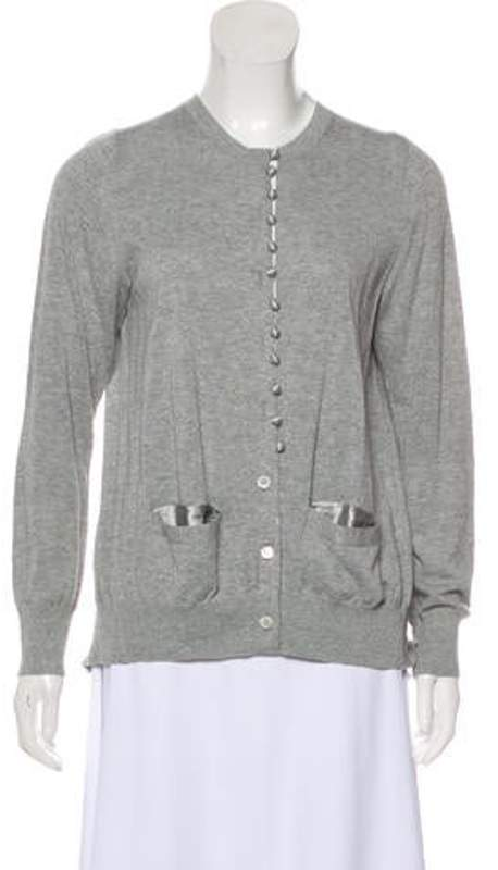 Sacai Luck Silk-Accented Button-Up Cardigan Grey Luck Silk-Accented Button-Up Cardigan