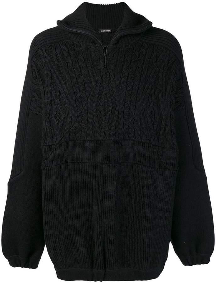 Balenciaga mixed knit jumper