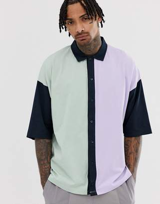 Asos Design DESIGN oversized button through polo shirt in pastel colour block-Green