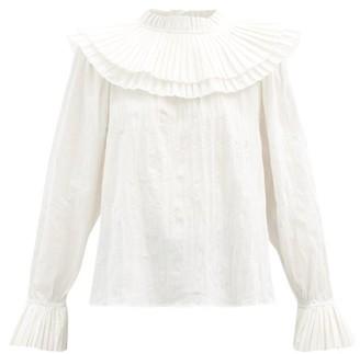 Sea Tivoli Pleated-bib Cotton-voile Blouse - White