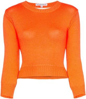 Les Rêveries Backless Long-Sleeved Knitted Crop Top