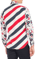Thom Browne Floral-Print Diagonal-Stripe Shirt, Red/White/Navy