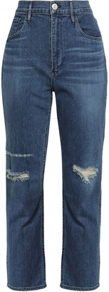 3x1 Colette Distressed High-rise Slim-leg Jeans