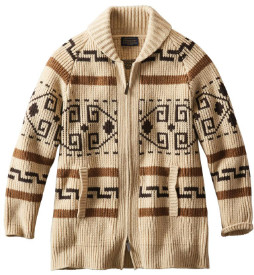 Pendleton Womens Long Westerley Cardigan Tan Brown - S