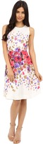 Donna Morgan Sleeveless Twill Fit and Flare with Floral Print and Full Skirt