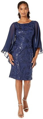 Alex Evenings Midi Length Embroidered Shift Dress with Sequin Detail (Navy) Women's Dress