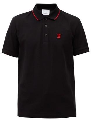 Burberry Logo-embroidered Icon-stripe Cotton Polo Shirt - Black