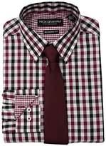 Nick Graham Men's Multi Gingham Dress Shirt With Solid Tie Set