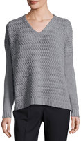 Lafayette 148 New York Weave-Knit Panel Sweater, Rock/Smoke