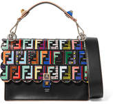 Fendi Kan I Embossed Printed Leather Shoulder Bag - Black