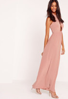 Missguided Cross Halter Neck Slinky Maxi Dress Pink