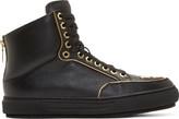 Alejandro Ingelmo Black Leather Gold Trimmed Jeddi High-tops