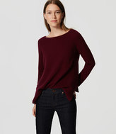 LOFT Petite Mixed Media Side Ribbed Sweater