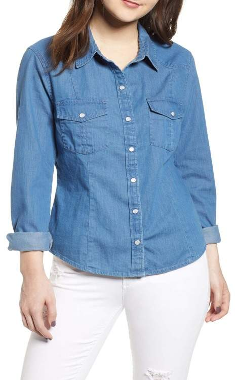 BP Fitted Chambray Shirt (Regular & Plus Size)