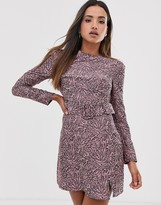 Fashion Union structured bodycon dress in abstract print with belt detail