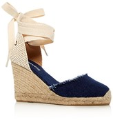 Soludos Denim Ankle Tie Wedge Sandals