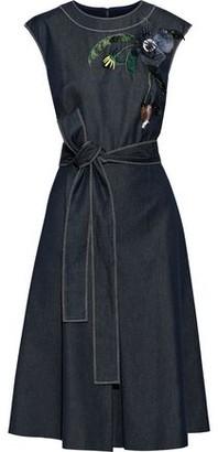 Carolina Herrera Belted Floral-appliqued Embroidered Denim Dress