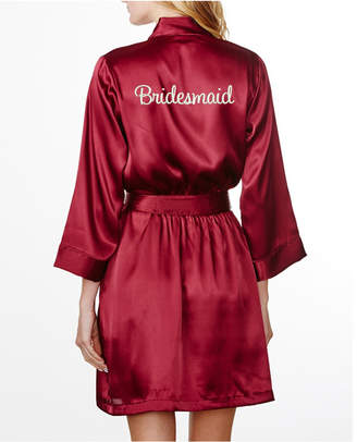 Wedding Prep Gals Plus Size Embroidered 'Bridesmaid' Robe, Online Only