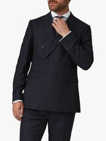 Jaeger Wool Pinstripe Regular Fit Double Breasted Suit Jacket, Navy