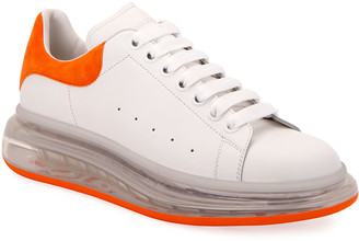 Alexander McQueen Men's Clear-Sole Leather/Suede Sneakers