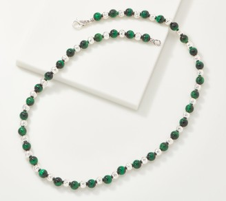 "JAI Sterling Silver Hammered & Gemstone Bead 24"" Necklace"