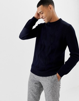Ted Baker cable knit sweater with shoulder patch detail