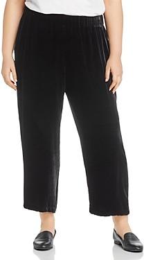 Eileen Fisher Plus Velvet Wide-Leg Cropped Pants