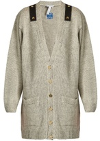 Loewe Leather-trimmed linen oversized cardigan