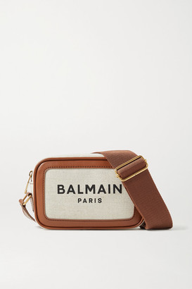 Balmain B-army Leather-trimmed Printed Canvas Shoulder Bag - Brown