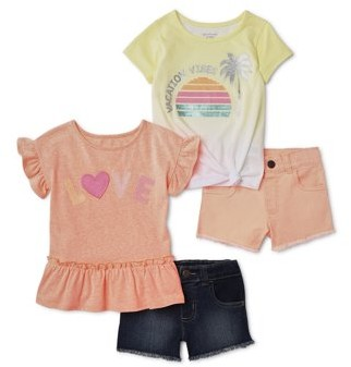 Garanimals Baby Toddler Girl Ruffle Sleeve Top, Sequin Side-Tie T-shirt & Woven Shorts, 4 pc Outfit Set