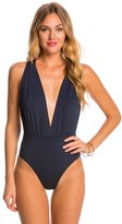 Vix Paula Hermanny Solid Indigo Drape One Piece Swimsuit 8148195