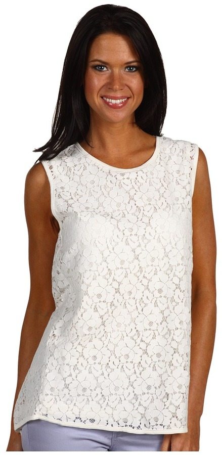 Joan Vass Lace Double Layer Tank (Natural) - Apparel
