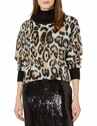 Vince Camuto Women's Cheetah Jacquard Turtleneck Sweater