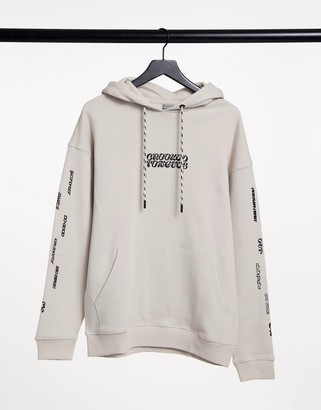 Crooked Tongues hoodie with chest logo and sleeve print in grey
