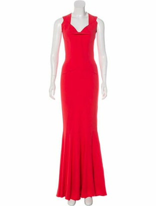 Roland Mouret Sleeveless Maxi Dress Coral