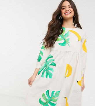 We Are Hairy People oversized smock dress with hand painted palm and banana