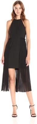 Rachel Roy Women's High Neck Crepe Dress with Chiffon Overlay