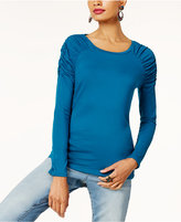 INC International Concepts Anna Sui Loves Ruched-Shoulder Long-Sleeve Top