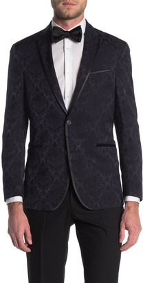 Kenneth Cole Reaction Jacquard Navy Two Button Notch Collar Jacket