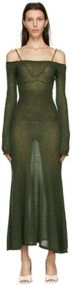 Jacquemus Khaki Mohair La Robe Maille Lauris Long Dress