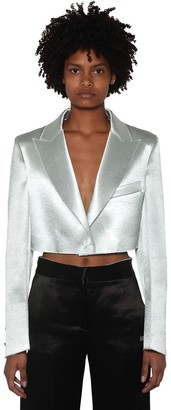 Off-White Cropped Duchesse Blazer