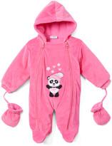 Sweet & Soft Girls' Bunting Suits Fushia - Fuchsia Panda Snowsuit - Infant