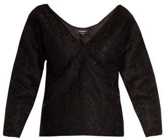 Rochas Off-the-shoulder Floral-lace Top - Womens - Black