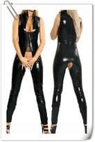 LAFIZZLE Sexy Lingerie Plus Size Pvc Black Woman Latex Bodysuit Crotchless Catsuit Jumpsuit Faux Leather Gothic Punk Xmas Gift Costume