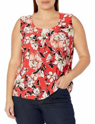 Kasper Women's Watercolor Bouquet Print Pleat Neck Knit Sleeveless TOP