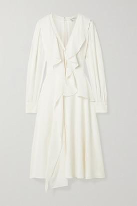 Alexander McQueen Ruffled Silk-georgette Midi Dress - Ivory