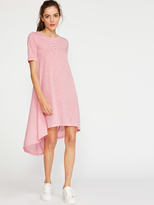 Romwe Button Front High Low Tee Dress