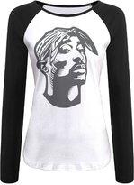 Andrlya&A Women's Makaveli Tupac Shakur Face Raglan Long Sleeve Shirt