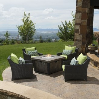 Three Posts Northridge 5 Piece Rattan Sunbrella Multiple Chairs Seating Group with Cushions Cushion Color: Ginkgo Green