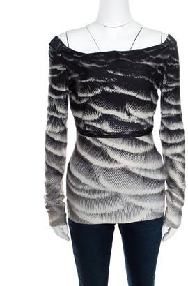 Roberto Cavalli Monochrome Metallic Abstract Printed Knit Cowl Neck Top S